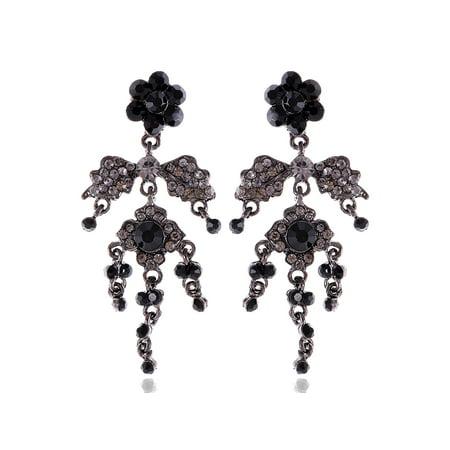 Jet Black Dahlia Flower Crystal Rhinestone Chandelier Dangle Drop Goth Earrings