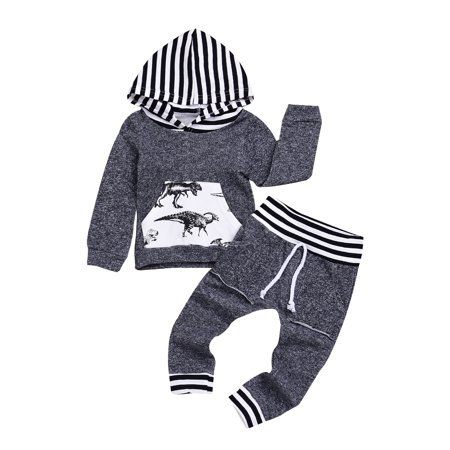 e498916e1811 DYMADE - Newborn Infant Baby Boy Long Sleeve Dinosaur Hoodie Tops+ ...