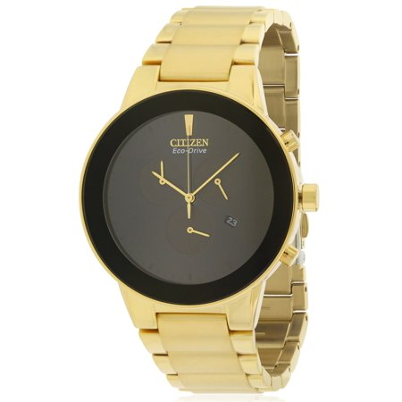 Citizen Eco Drive Axiom Gold Tone Chronograph Mens Watch  At2242 55E