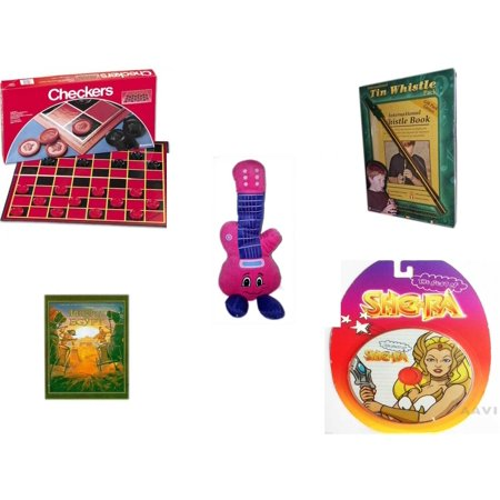 Children's Gift Bundle [5 Piece] -  Checkers Folding Board  - International Tin Whistle Gift Pack Edition  - Jammin Pink Guitar  13