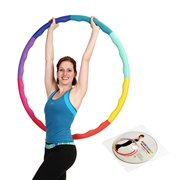 Soft Rubber Foam Padding Large Weighted Hula Hoop for Workout & Exercise w/ DVD