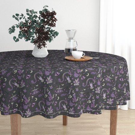 Round Tablecloth Halloween Devil Satan Occult Cute Spooky Creepy Cotton Sateen - Spooky Deviled Eggs Halloween