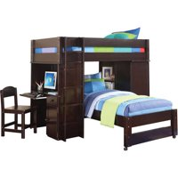 Acme Lars Twin Loft Bed with Chair & Twin Bed