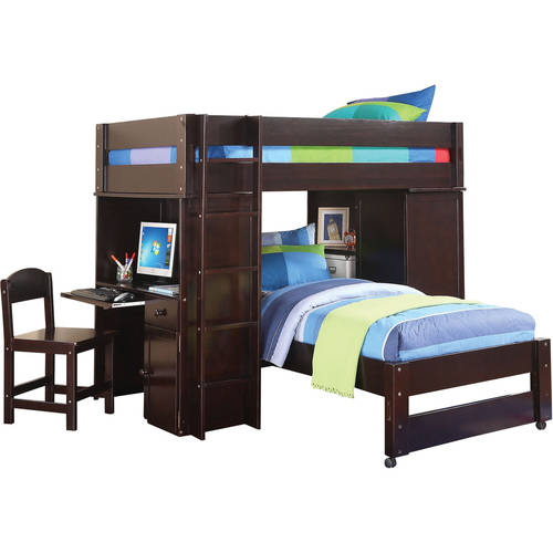 Acme Lars Twin Loft Bed with Chair & Twin Bed, Wenge
