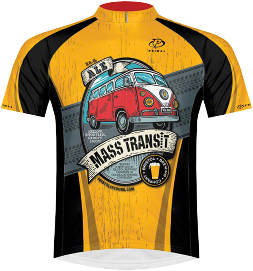 Primal Wear Bristol Brewing Mass Transit Men's Cycling Jersey: Gold/Black, MD