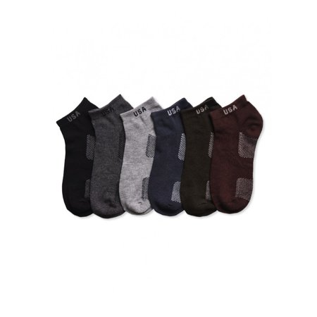 Men's Multi Color Lightweight Stretch Low Cut Athletic Ankle Socks - 6