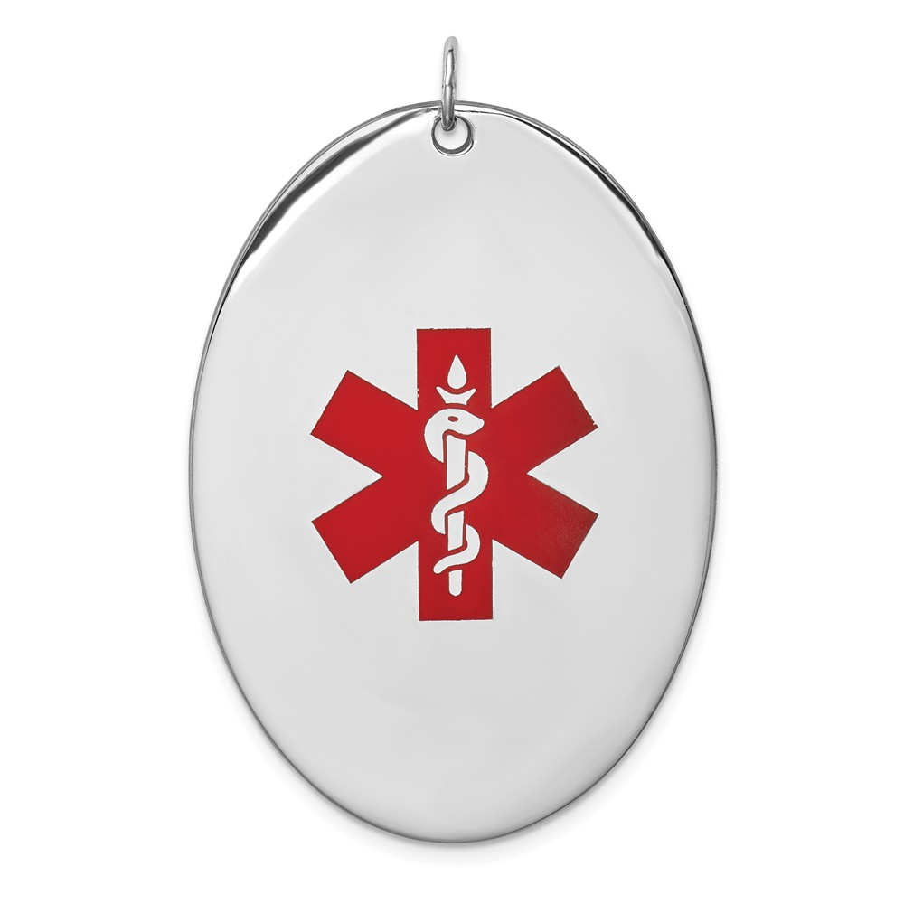 Sterling Silver Engravable Oval Medical Jewelry Pendant