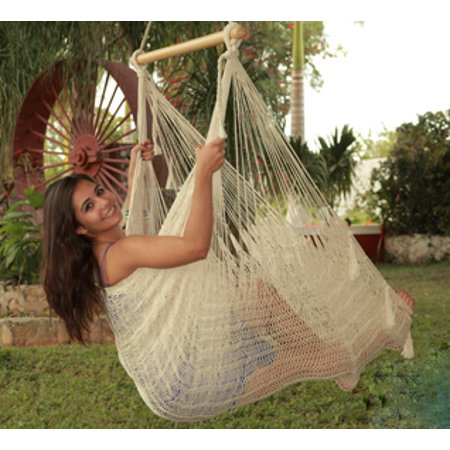 (Sunnydaze Extra Large Mayan Hammock Chair, Indoor/Outdoor Use, Lightweight Cotton/Nylon Rope, Max Weight: 330 Pounds, Natural Color)