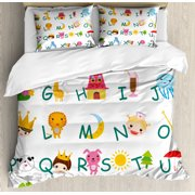 Educational King Size Duvet Cover Set, Cute Kids Alphabet with Fruits Animals Prince Princess Cheerful Colorful Design, Decorative 3 Piece Bedding Set with 2 Pillow Shams, Multicolor, by Ambesonne