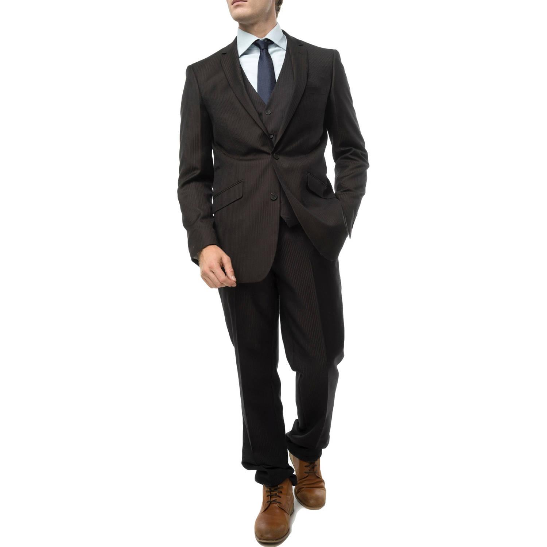 Verno Men's Dark Brwon Pinstripe Slim Fit Three Piece Suit