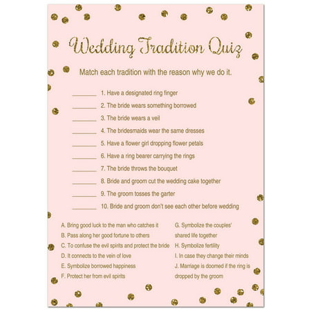 Wedding Tradition Quiz Bridal Shower Game -  Faux Gold Glitter on Pink - 24 Cards