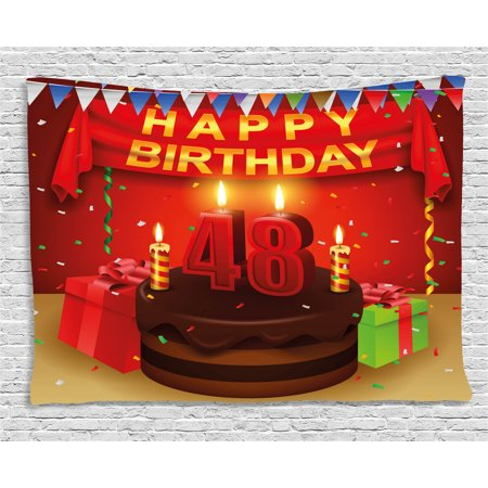 48th Birthday Decorations Tapestry Presents Chocolate Cake With Candles Party Flag Artsy Print Wall