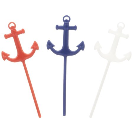 Anchor Nautical Theme Food Picks - 25 pc, Colored in red, white and blue, these plastic picks will look great in your cupcakes, fruit, assorted meats and more By Fun Express - Nautical Themed Food Ideas