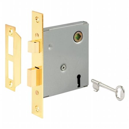 "Prime Line E2293 2-3/8"" Polished Brass Steel Mortise Keyed Lock Set"