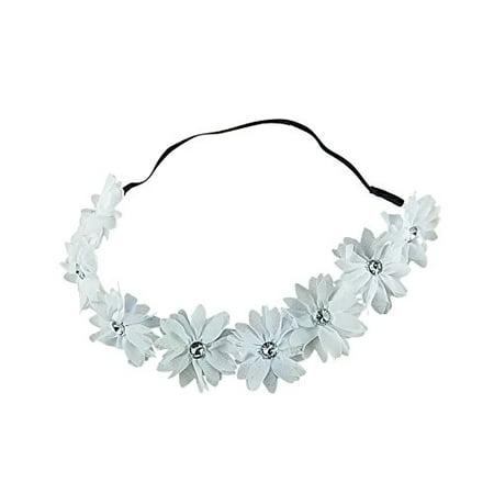 Art Attack White Braided Chiffon Crystal Stone Floral Flower Crown Stretch Festival - Flower Crown Headband