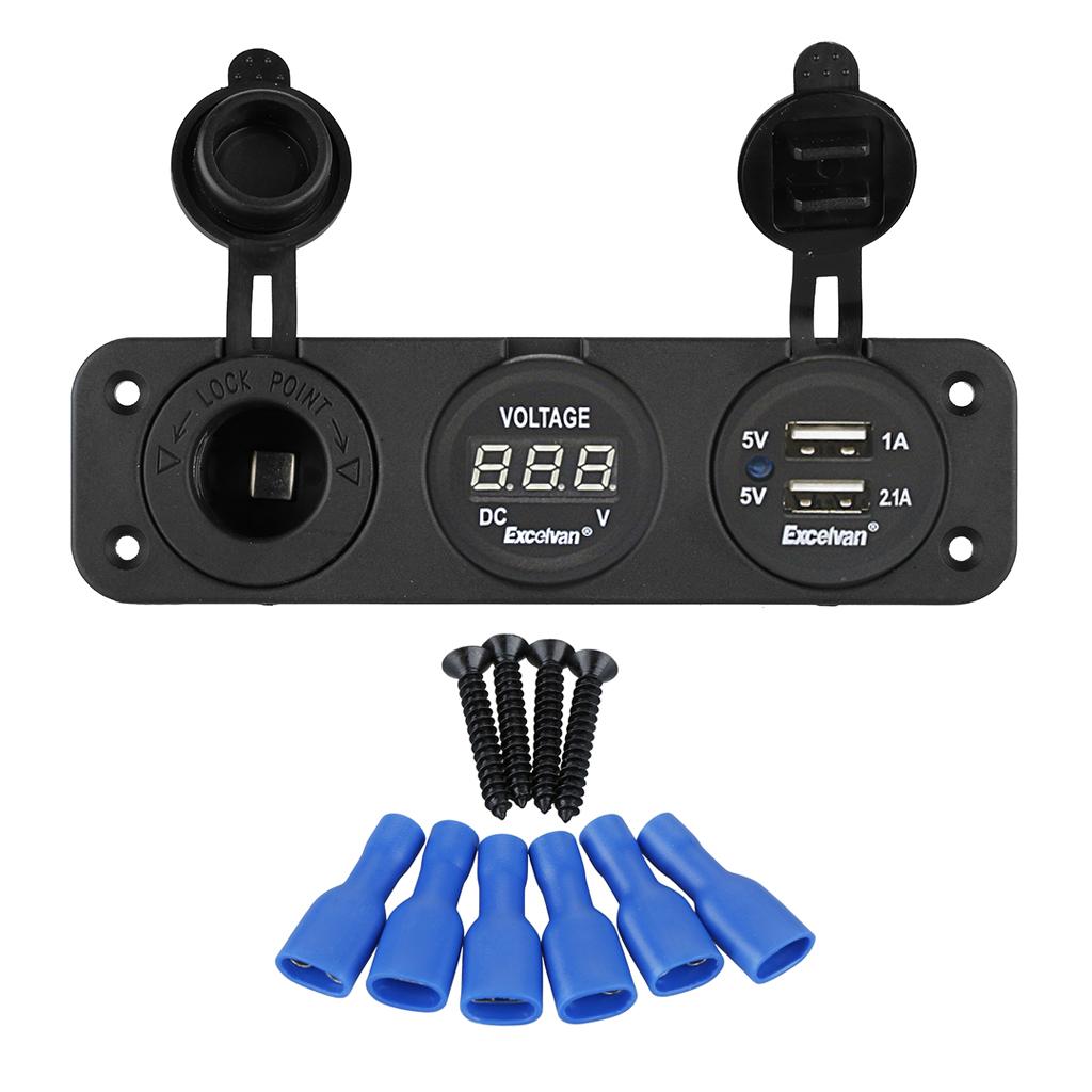 Excelvan Triple Dual Usb Port Charger 31a Digital Voltmeter 12v Short Circuit Outlet Boat Jack Power Marine Socket Panel Mount Plug