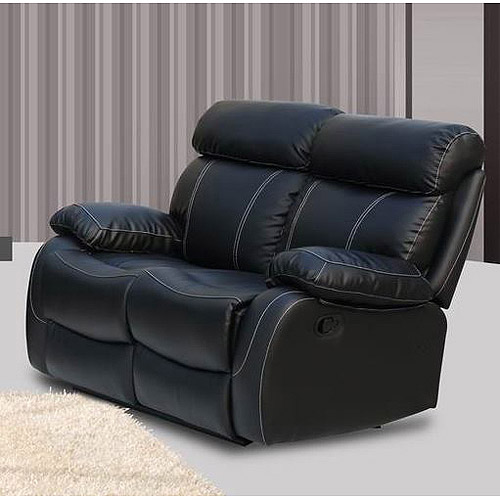 Primo International Chateau Bonded Leather Reclining Loveseat, Black