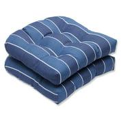 Pillow Perfect Outdoor/ Indoor Wickenburg Indigo Wicker Seat Cushion (Set of 2)
