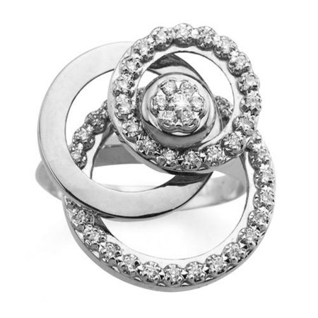 Flat Circle Motion Ring With Diamonds 14k White Gold - FL829 Diamond Double Circle Ring