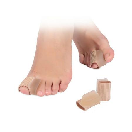 4 Pcs Fabric Toe Separators Hammer Toe Straightener Protector Sleeve Tube with Big Toe Gel Spacers for Men and Women (Mec Tubes)