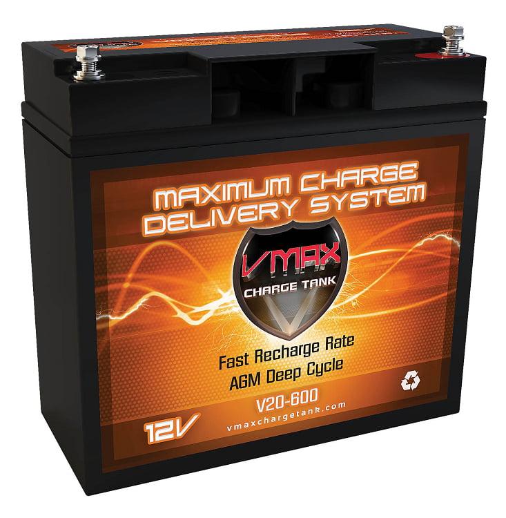 "VMAX V20-600 12V 20AH AGM Deep Cycle Battery (7""w x 3""d x 6.6""h) for Berkley BTM25 12V 25lbs Trolling... by VMAXTANKS"