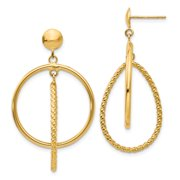 14k Polished & Patterned Dangle Post Earrings