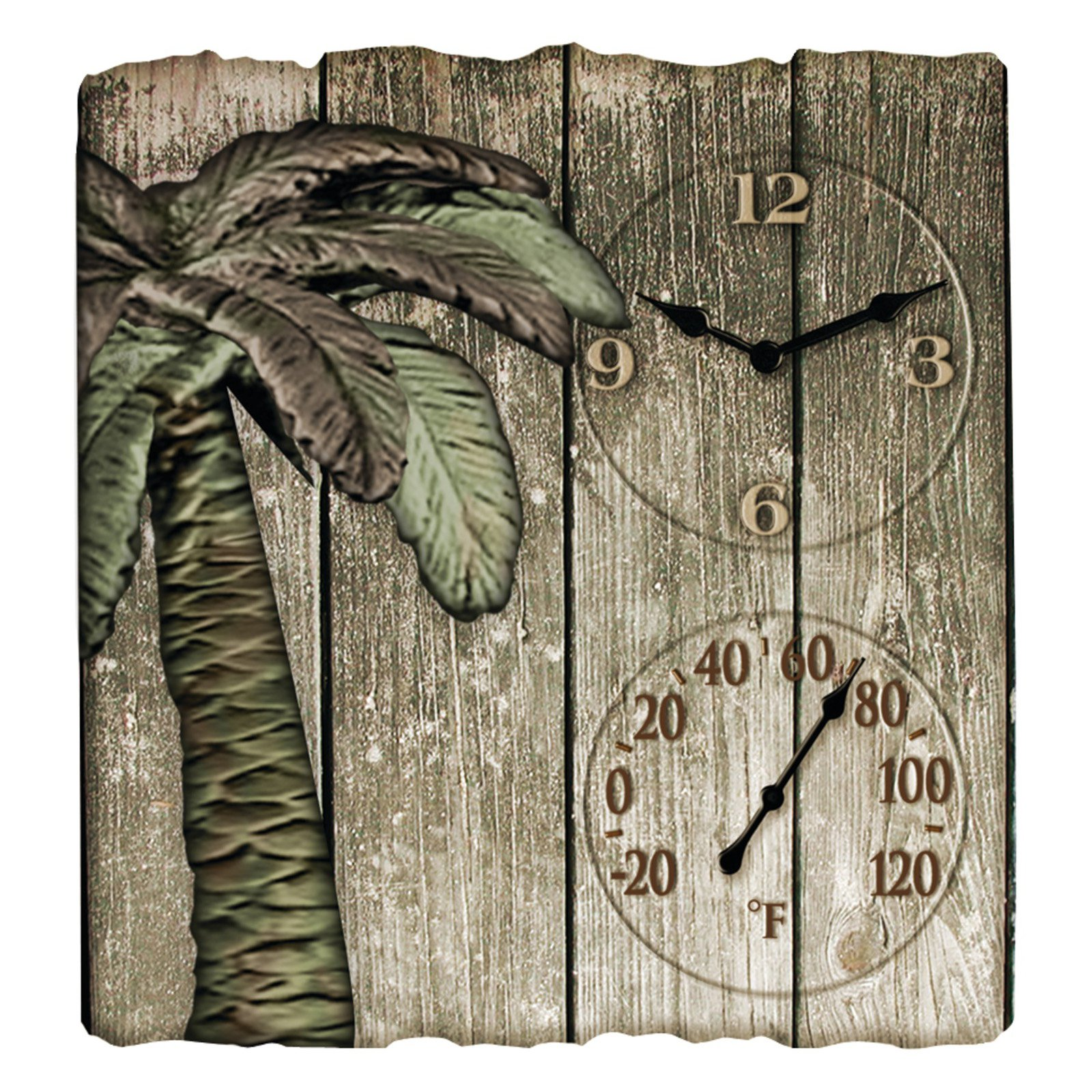 """Taylor 91940 12"""" x 13"""" Palm Tree Poly Resin Clock with Thermometer"""