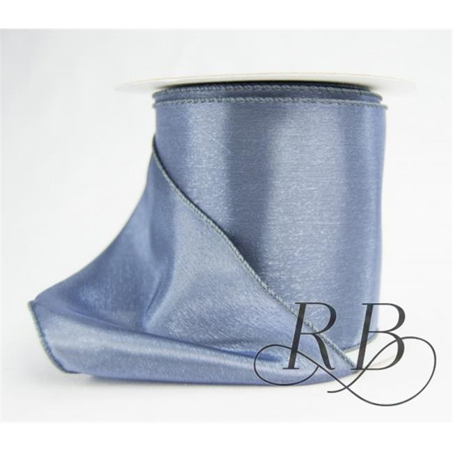 Ribbon Bazaar 6848 2.5 in. Wired Iridescent Single Faced Satin Ribbon, Blue Smoke - 10 Yards
