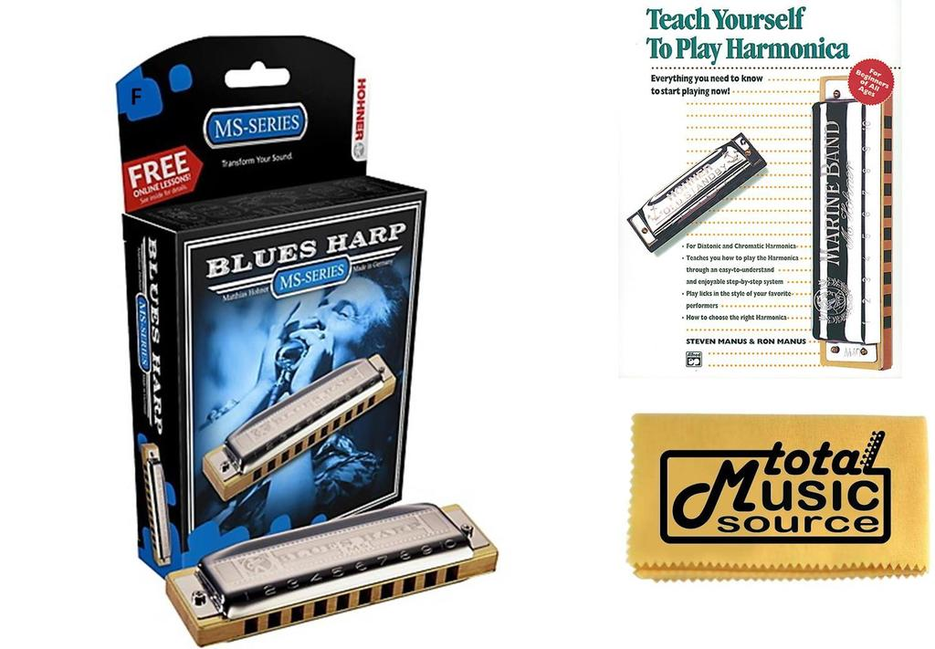 HOHNER Blues Harp MS Harmonica Key F, Made in Germany, Case & Book, 532BL-F BK by Hohner