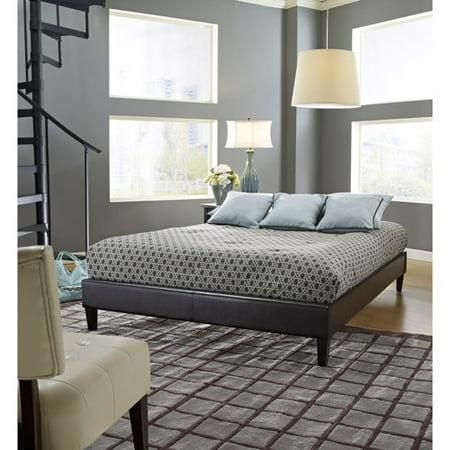 premier elite faux leather twin brown upholstered platform bed frame with bonus base wooden slat system - Upholstered Platform Bed Frame