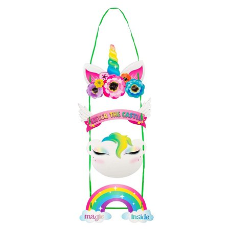 Girl Themed Party (Unicorn Door Hanger - 2-Pack Welcome Sign for Princess Unicorn Themed Party Decoration, Easy DIY Assembly, Girls Birthday Party)