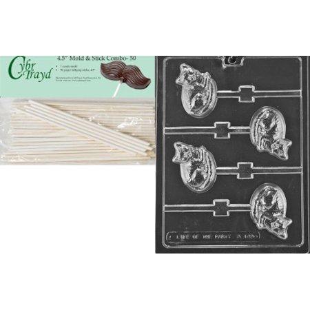 Cybrtrayd 45St50-A149 Cat Lolly Animal Chocolate Candy Mold with 50 Cybrtrayd 4.5-Inch Lollipop Sticks