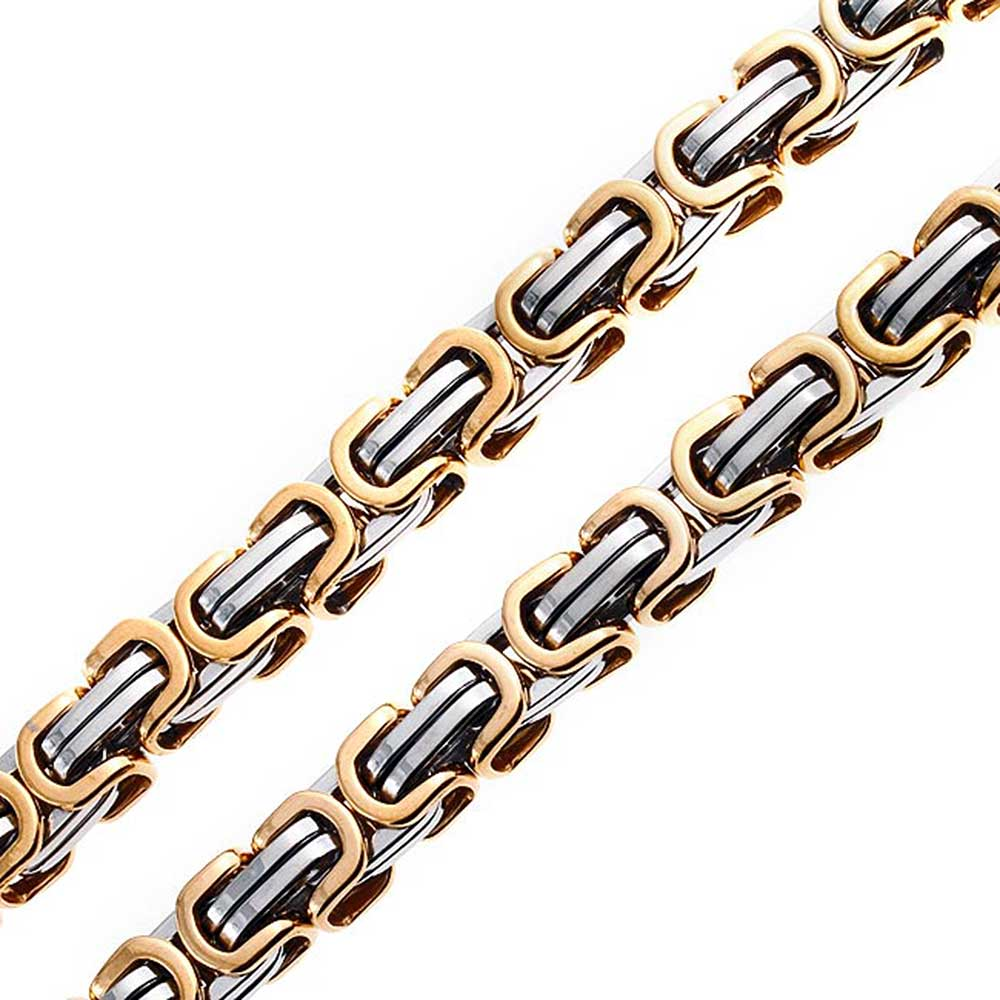 Gold Plating Stainless Steel Two Tone Mechanic Chain 20 Inches