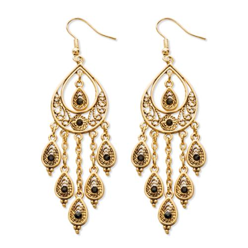 Black Crystal Teardrop and Chain Chandelier Earrings in Yellow Gold Tone