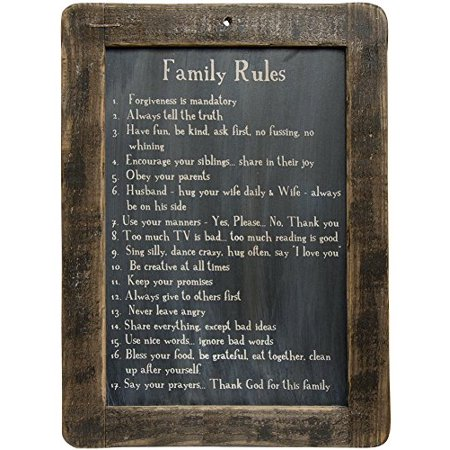 Bandit Frame Slate Blue Lens (Family Rules Blackboard on Distressed Slate with Stained Wooden Frame, 8.5