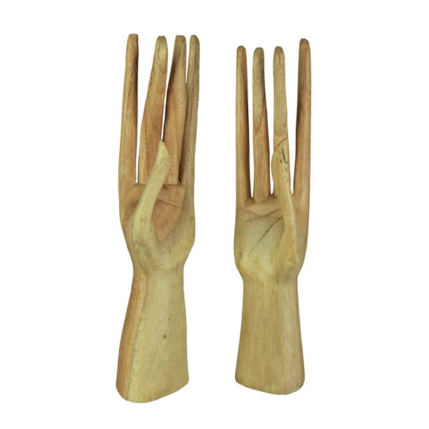 King Max Hand Crafted Stand Up Wooden Hands Jewelry Holder Display Stand 2 Piece Set Walmart Com Walmart Com