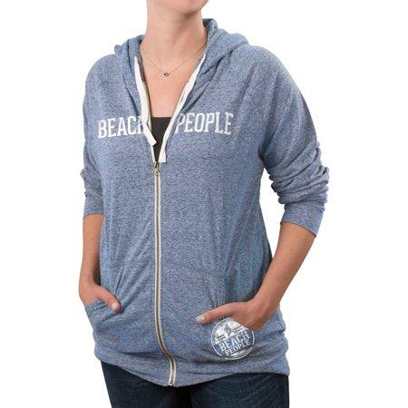 People Adult Sweatshirt - We People - Beach People Blue Heathered Gray Unisex Light Weight Zip Up Sweatshirt