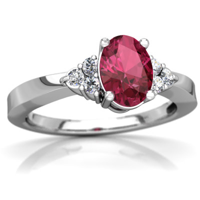 Pink Tourmaline Simply Elegant Ring in 14K White Gold by