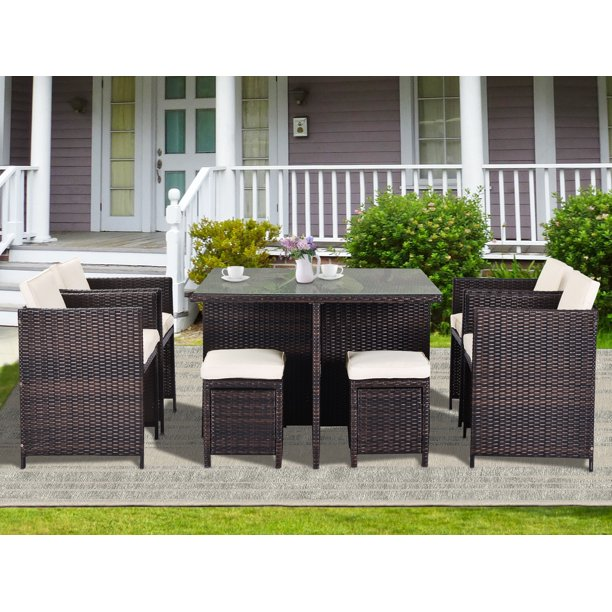 Outdoor Patio Furniture Sets, 9-piece Outdoor Wicker Conversation Set with Ottomans & Table, Rattan Outdoor Patio Conversation Sets, Durable Outdoor Furniture Sets with Cushion for Lawn Backyard, R131