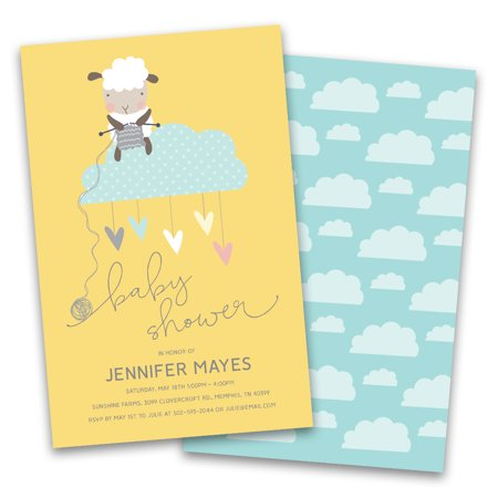 Personalized Sheep on a Cloud Personalized Baby Shower Invitations](Baby On Cloud)