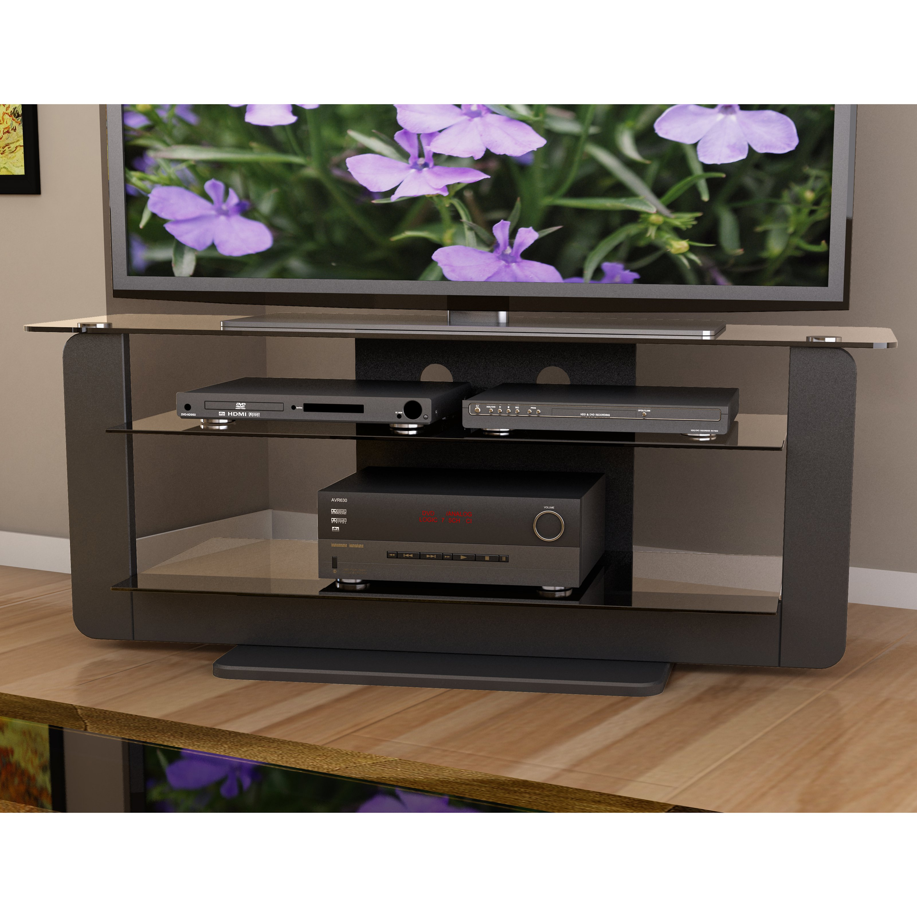 CorLiving T-201-TAT Atlantic 52 in. TV Stand with Glass Shelves - Midnight Black