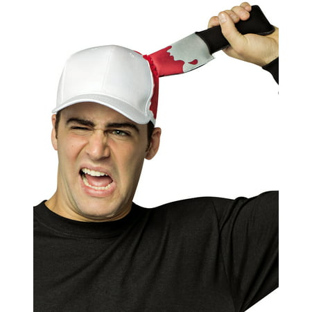 Bloody Knife Prop (Bloody Knife In Head Hat Scary Movie White Hat With Blood Adult Costume)