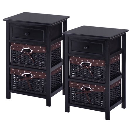 Costway Set OF 2 Night Stand 3 Tier 1 Drawer Bedside End Table Organizer Wood W/2 Basket ()