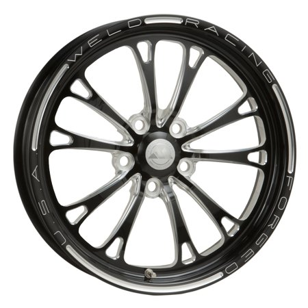 Weld Racing 84B-1704274 Weld Pro Drag V-Series; 1 Piece; Size 17x4.5; Bolt Pattern 5x4.75; -12.7 Offset; Back Spacing 2.25 in.; Black; Machined Accents; Bore Dia. 2.87in./72.898mm. Center Cap (S10 Drag Racing)