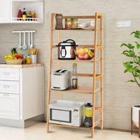 Product Image Costway Multifunctional 4 Shelf Bamboo Bookcase Ladder Plant Flower Stand Rack Storage