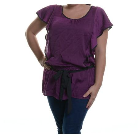 NY Collection Dark Purple Black Elastic Tie Waist Top Size