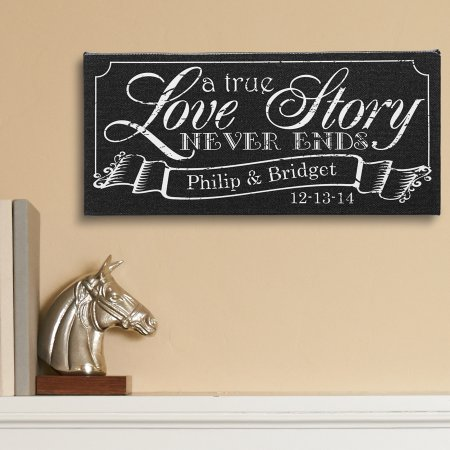 "Personalized A True Love Story Canvas, 5"" x 11"""