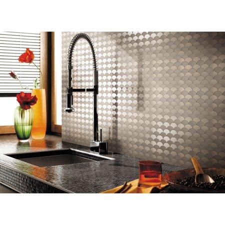 Art3d Peel and Stick Aluminum Tile Kitchen Backsplash, 12\
