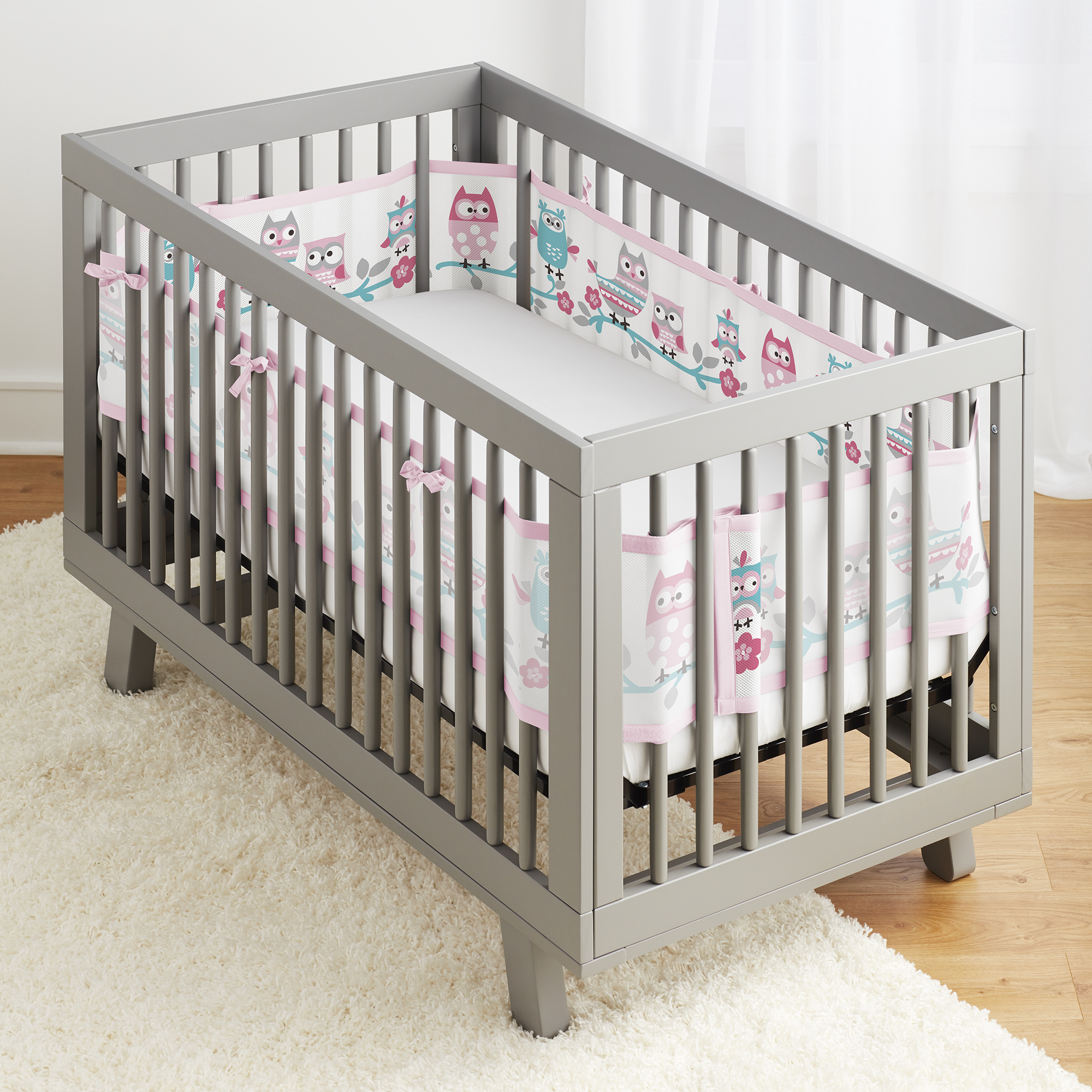 BreathableBaby® Classic Breathable® Mesh Crib Liner- Owl Fun Pink