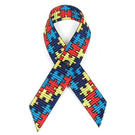 Autism Fabric Awareness Ribbons - Bag of 250 Fabric Ribbons w/ Safety Pins - Autism Ribbons